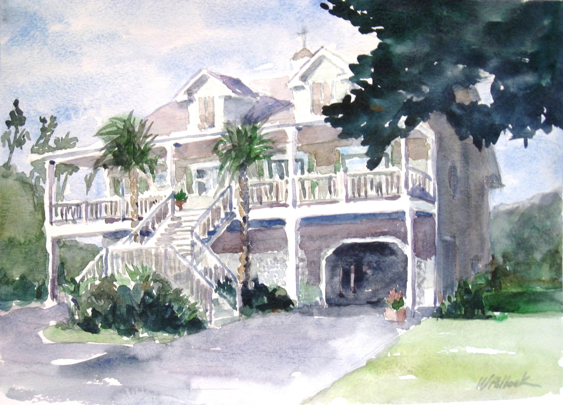 LANSES MYRTLE BEACH HOUSE 10x14 Watercolor Sold